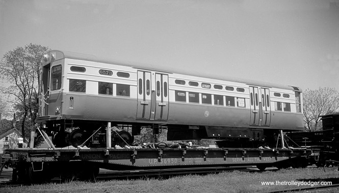 CTA 6573 is shown in Pekin, Illinois, on its way from the St. Louis Car Company to Chicago in the mid-1950s. Once on CTA property, it will be coupled with 6574 as a permanently married pair.