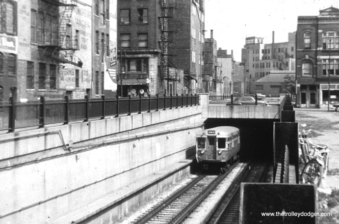 The north portal of the Dearborn-Milwaukee Subway at Evergreen Street.
