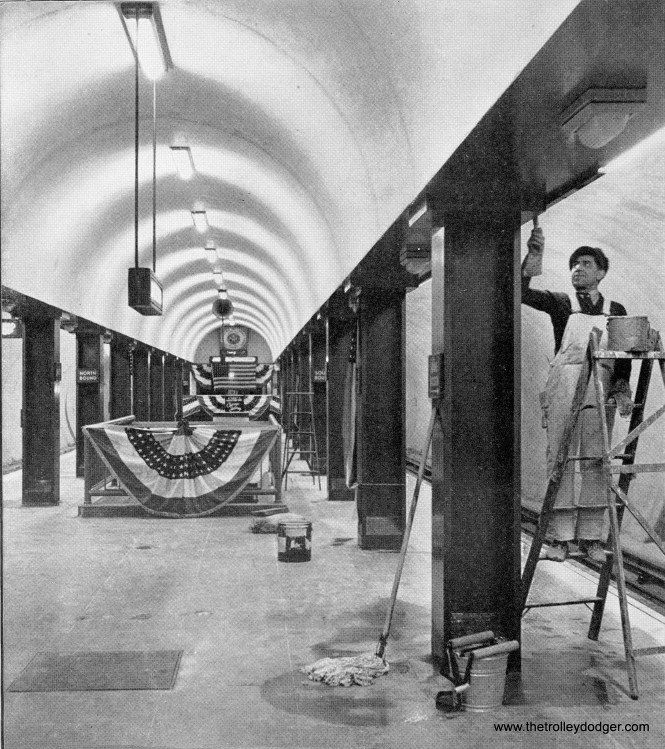 Final touches on the State Street Subway in April 1943.