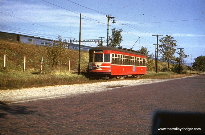 """CTA """"Peter Witt"""" car 6287 is on the Cottage Grove private right-of-way on June 10, 1951."""