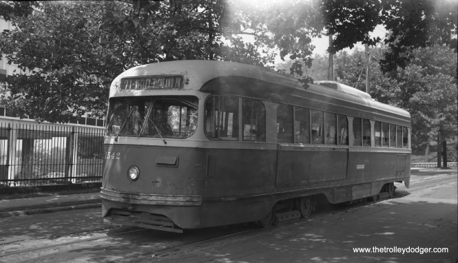 On August 17, 1966, Pittsburgh Railways PCC 1542 is on Route 71 - Highland Park. (Richard S. Short Photo)