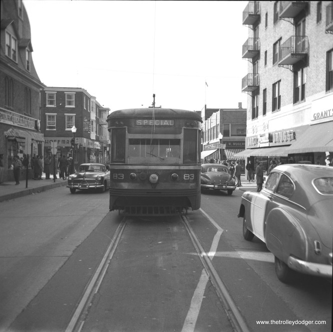 """Philadelphia Suburban Transportation Company (aka Red Arrow Lines) """"Master Unit"""" car 83 is at the end of the line in West Chester, PA. Service on this interurban was replaced by bus in 1954, to facilitate the widening of West Chester Pike."""