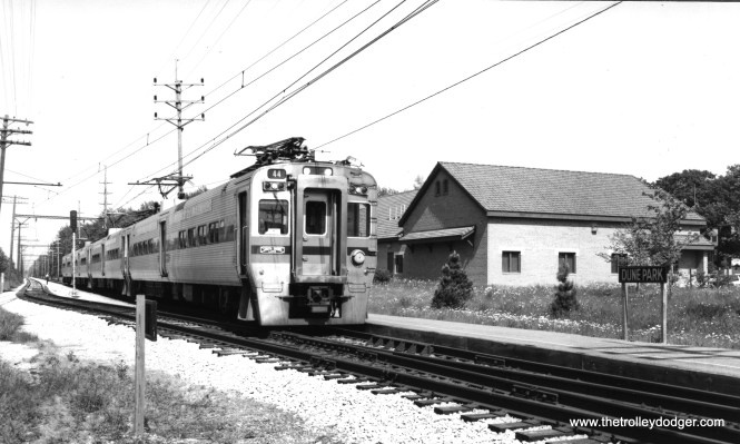 #44 at Dune Park, headquarters of the Northern Indiana Commuter Transit District that funded the electric operation and the new cars. This was a charter train. (Walter Veilbaum Photo)