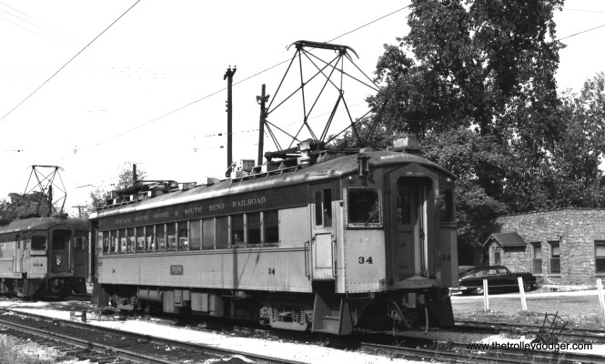"#34 at Michigan City in September 1953. That's the note that came with the photo... on the other hand, Spence Ziegler says, ""Looks more like CSS&SB Car #34 is in the South Bend coach yard."" (Richard Brown Photo)"