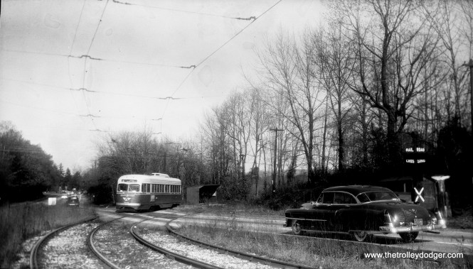 Philadelphia Transportation Co. PCC #2031 is on a section of private right-of-way at the end of Route 6 in the early 1950s. That looks like aa 1953 Cadillac at right. This section of route was eventually cut back due to highway construction. (Walter Broschart Photo)