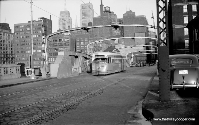 CTA Pullman PCC 4111 heads west on Monroe Street in 1950, running on Route 20 - Madison.