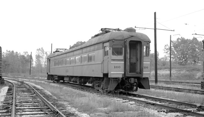 We have a picture of South Shore Line car 100 of our own. This one was taken on October 15, 1967 at the shops in Michigan City.