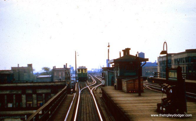 "Looking west from the west end of the Indiana Avenue ""L"" station, 4000-series ""L"" cars are laying over on the Stockyards ""L"". 4000s were used on this branch during the 1952 and 1956 political conventions held at the International Amphitheater. (Joseph N. Canfield Photo)"