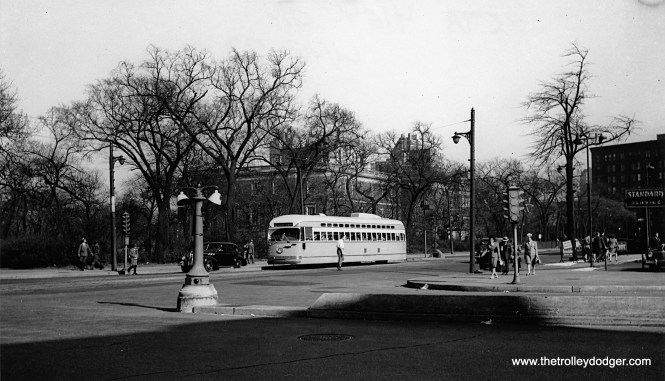 CTA 4164, a Pullman PCC, heads north on Clark Street circa 1948, ready to cross LaSalle Drive, which runs at an angle at this point. In the background, you can see the Chicago Historical Society (now Chicago History Museum) building. The Standard gas station at right is now a BP.