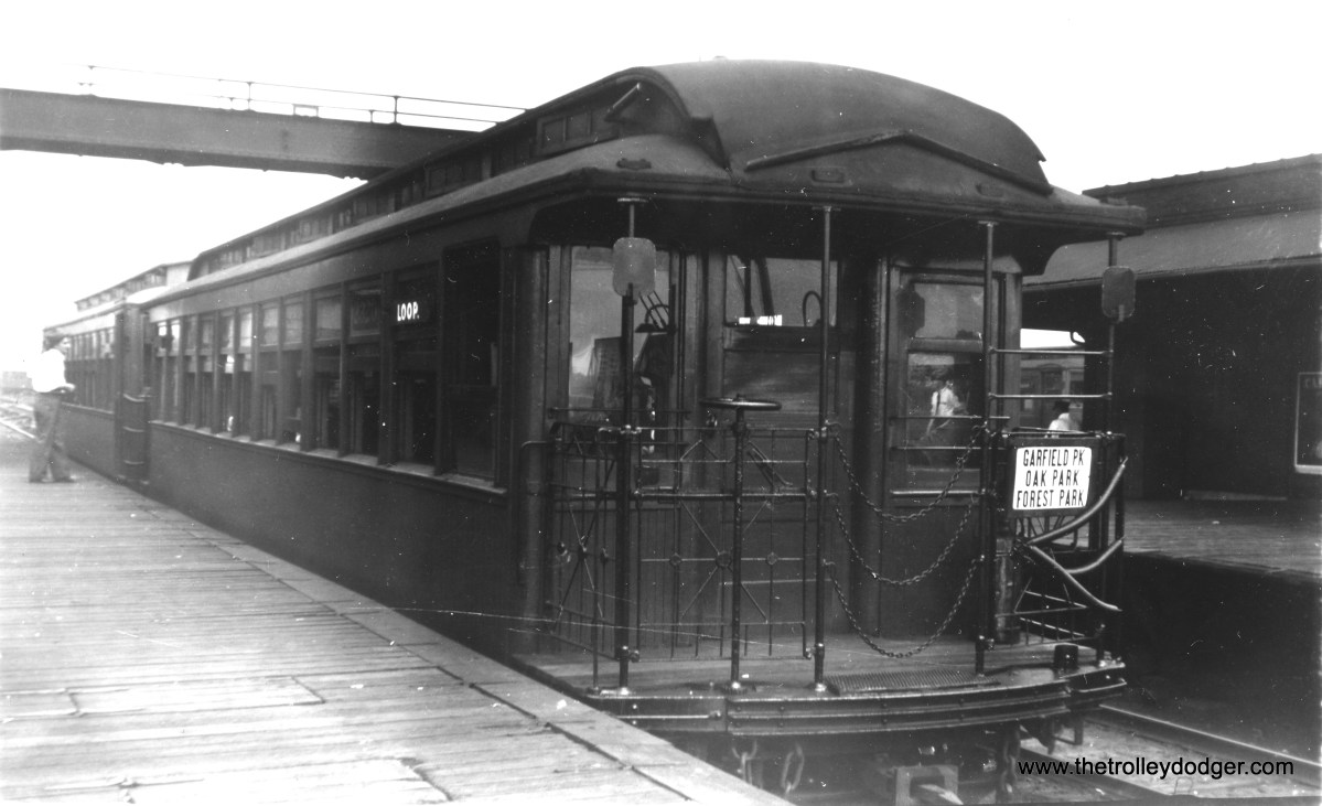 """A CRT gate car, running in service on the old Garfield Park """"L"""" in 1947. This is the Laramie stop. (Charles R. Griffin Photo)"""