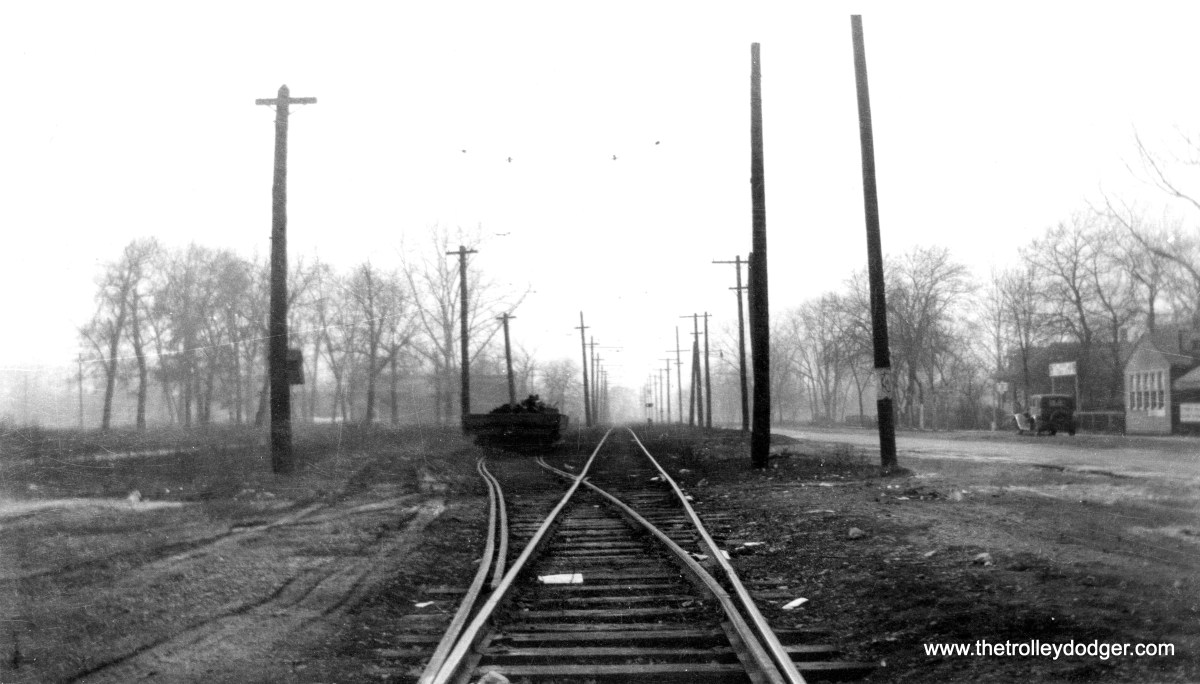 """I assume these are the C&WT tracks in LaGrange. (William Shapotkin Collection) Michael Murray: """"I'm skeptical that photo 10 is on the La Grange line. There wasn't any single track on the line similar to the one in the photo. My guess is perhaps the Berwyn-Lyons line? Ogden Ave. on the right, and this is the easternmost passing track, which, according to the Buckley book, was west of Harlem. Note that the line poles are only briefly wide of the main """"march"""" of poles into the distance."""""""
