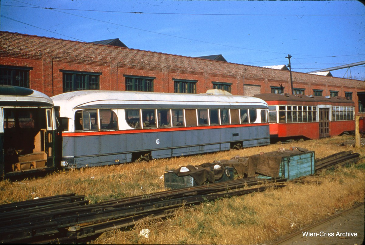Chicago Surface Lines experimental pre-PCC car 7001 at 77th and Vincennes in October 1956. It is a shame that this historic car, which ran in Chicago from 1934 to 1944, was not saved. (Wien-Criss Archive)