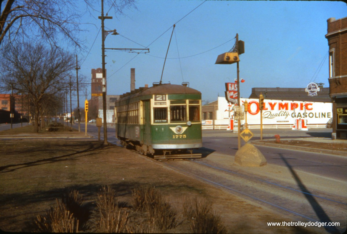 CTA 1775 at Cermak and Kostner on March 21, 1954, about two months before streetcar service ended on Route 21.