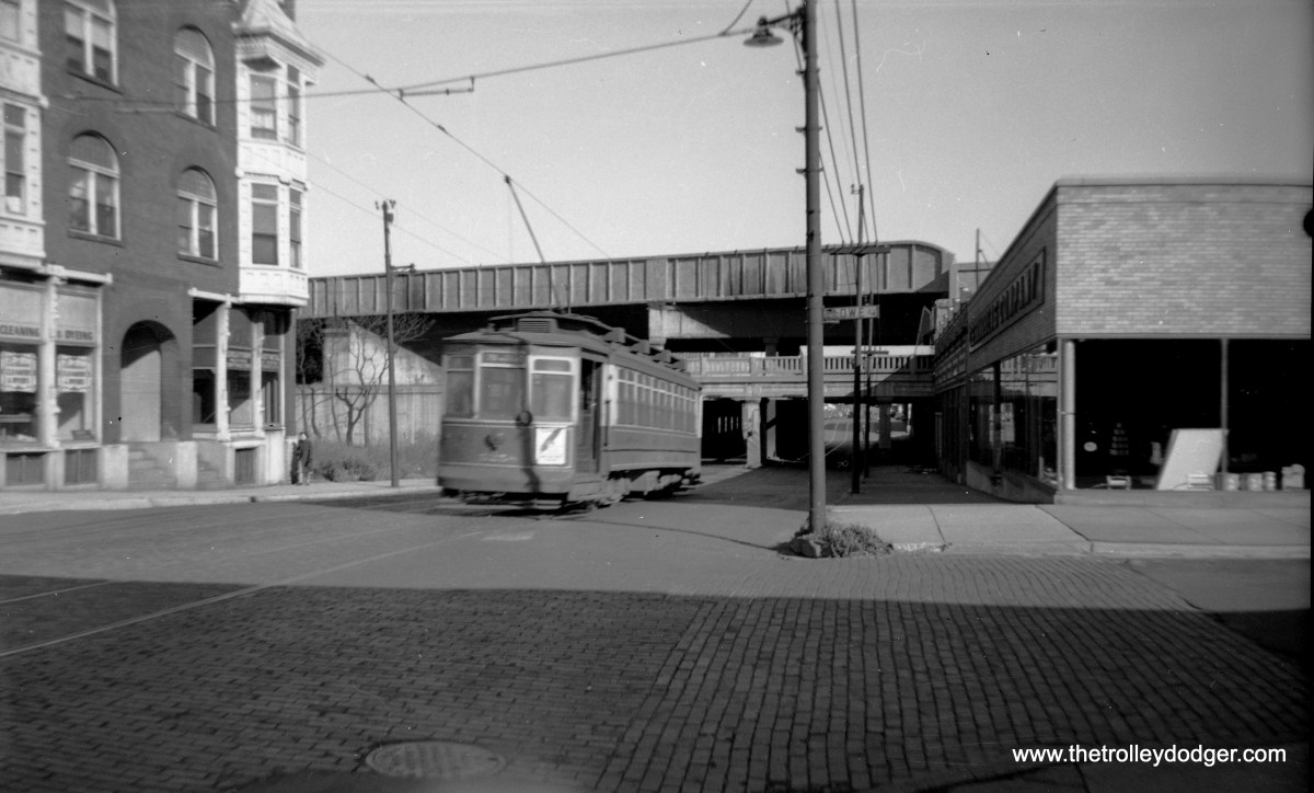 Chicago Surface Lines 5258 at Lowe Avenue in the 1940s (not sure of main street, perhaps 79th?).