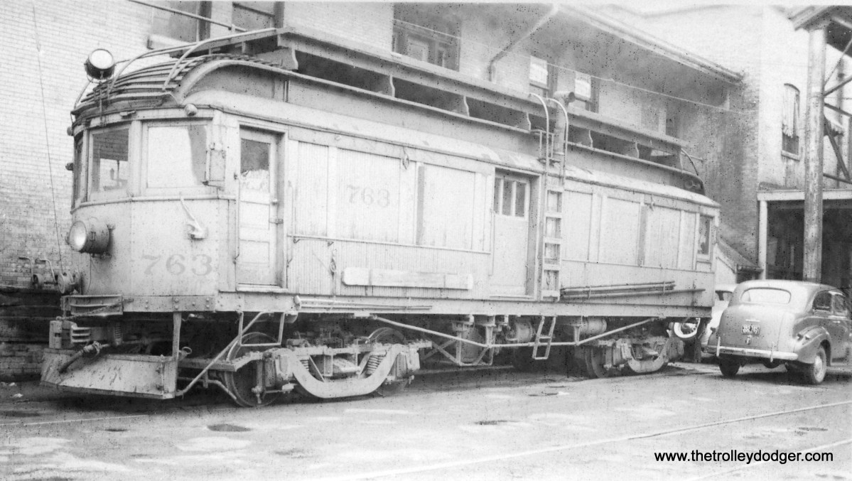 Indiana Railroad line car 763 at the Muncie station on May 19, 1940.