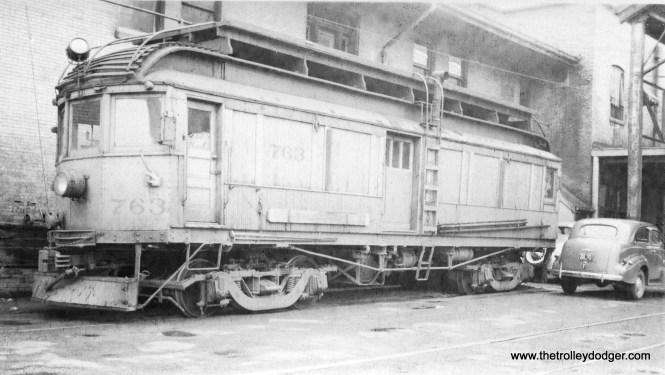 Indiana Railroad line car 763 at the Muncie station on May 19, 1940.