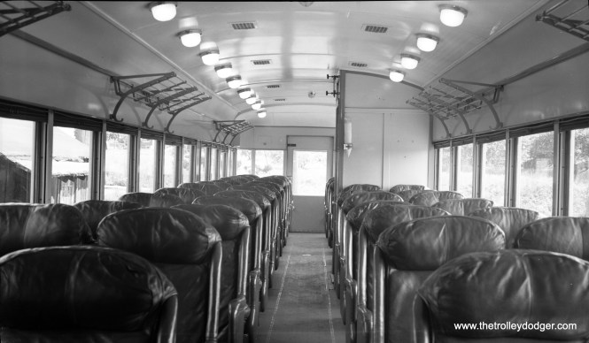 The interior of Lehigh Valley Transit car 1007, showing its leather bucket seats, which were popular when this car was built for the Cincinnati and Lake Erie in the early 1930s.