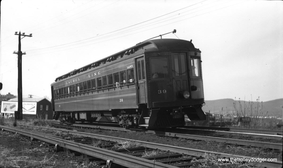 Laurel Line car 39 is at the Plains sub-station.