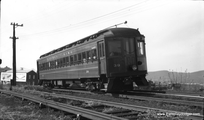 Laurel Line car 39 is at the Plains sub-station on December 28, 1952, shortly before abandonment.