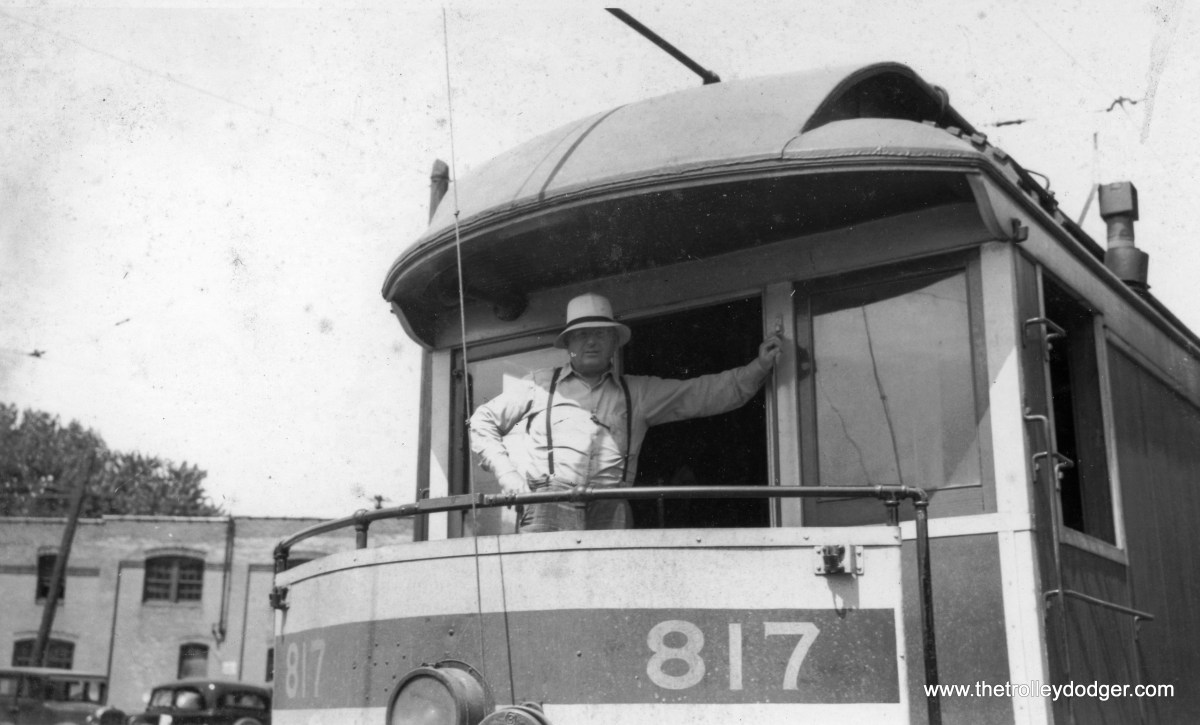 """Unidentified car and person. Mike Peters: """"The photo of 817 and employee would also be Fort Wayne. After passenger operations ceased, this motor was retained for switching the Spy Run power plant and several nearby industries. The roster in """"Fort Wayne and Wabash Valley Trolleys"""" (CERA #122) shows the 817 as being retired in 1952."""""""