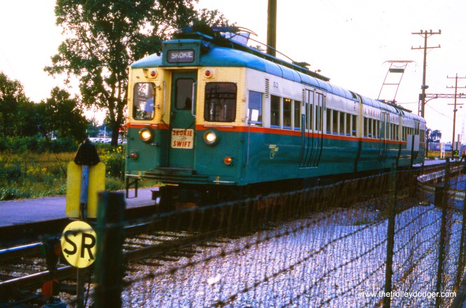 A 5000-series articulated train, renumbered into the 51-54 series, at Dempster in October 1966.