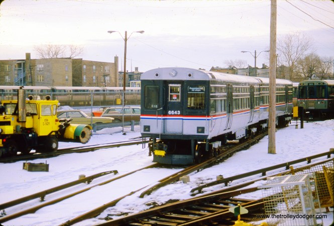 CTA 6643-6644 in the Kimball Yard on February 1, 1987.