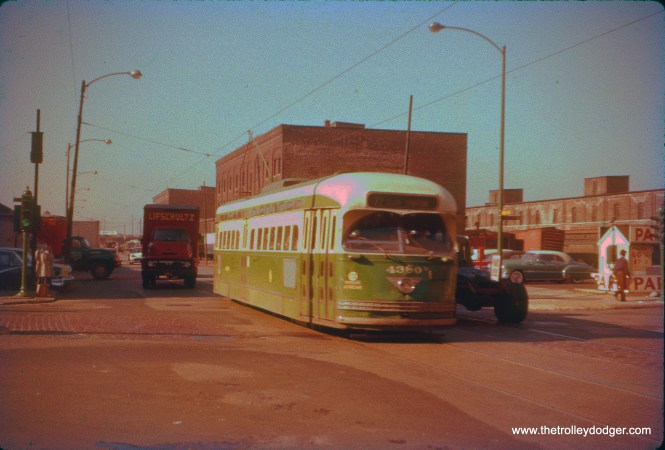 CTA PCC 4380 on the Wentworth line on June 16, 1958, less than a week before the end of streetcar service in Chicago.
