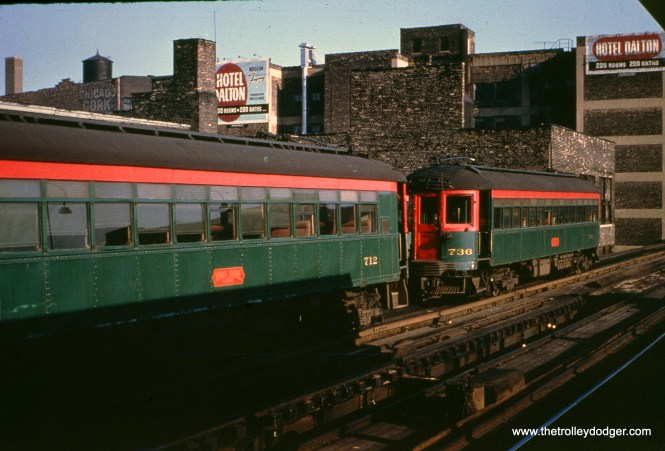 CNS&M 712 and 736 at Roosevelt Road in June 1962.