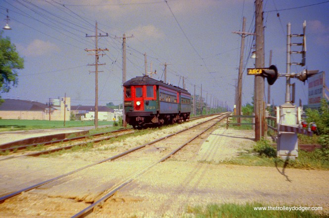 NSL 723 is westbound on the Mundelein branch on May 19, 1962. (Joseph Canfield Photo)