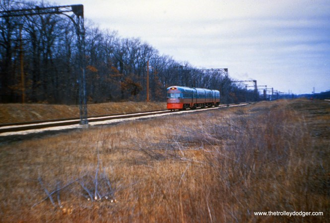 An Electroliner at speed on April 7, 1961. (Joseph Canfield Photo)