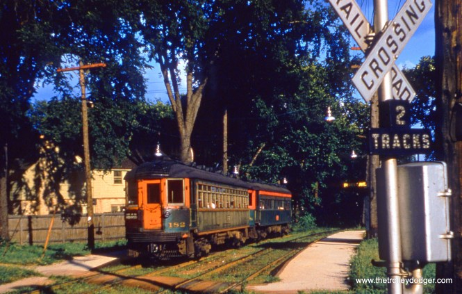 NSL 182 heads up a Shore Line train on July 15, 1955.