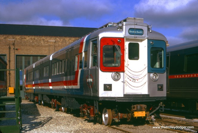 CTA articulated compartment car 5002, renumbered to car 52 in the early 1960s, was once again renumbered as 75 for this country's bicentennial. It eventually went to the Illinois Railway Museum as 52. Here we see it at Skokie Shops on January 26, 1975. (Bruno Berzins Photo)