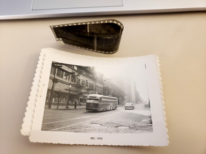 Six years ago, I purchased a couple strips of 35mm Super-XX black-and-white negatives and ran the photos on the blog I had at that time. There was no way to tell the exact date the pictures were taken, but they did contain various clues that helped narrow down the date. I posted the images, and several people guessed as to when they were shot. The consensus that eventually emerged was they were taken between Fall 1952 and Spring 1953. Well, in an act of serendipity, Jeff Wien (by way of Mr. Edward Springer) donated a set of snapshots to me that were made from these same negatives. They are dated December 1952, which is a better answer than we had before. You can see the rest of the photos here.