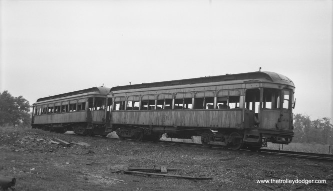 Once CA&E service stopped running to downtown Chicago, less equipment was needed. Here, wooden cars 137 and 141 are on the scrap track at the Wheaton Shops. Bob Selle took this picture on August 8, 1954. These cars were purchased from the North Shore Line in 1946.