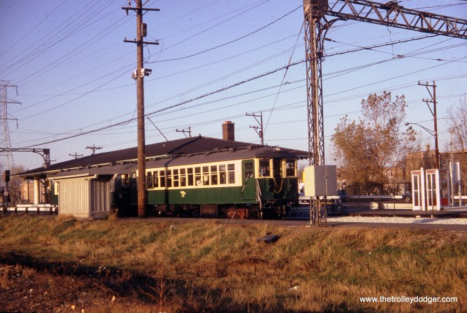 "On October 25, 1964 a pair of 4000-series ""L"" cars are seen at the Dempster terminal on the Skokie Swift, presumably on a fantrip."