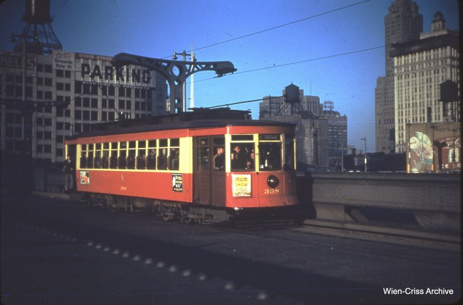 CTA 338 on the State Street bridge, then just a year old, on November 6, 1950.