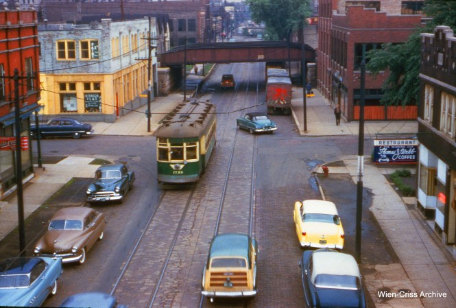 "CTA 1735 on Kedzie near the Douglas Park ""L"" (just north of Cermak Road) on May 28, 1954."