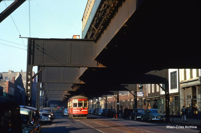 "CTA 1724 on Lake Street at Ashland on October 20, 1953, running under the Lake Street ""L""."