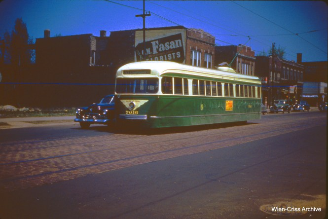 CTA 7016 on 63rd at Maplewood on May 6, 1951.