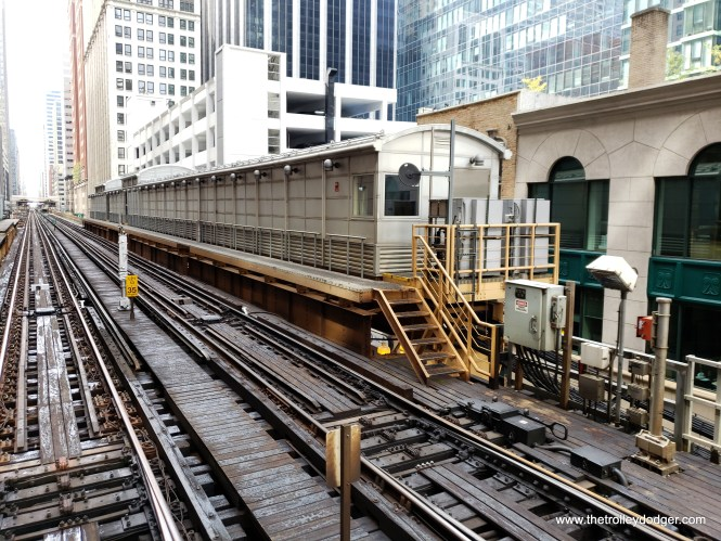 I am not sure what the purpose is of this structure, which the CTA has built on part of the platform of a former station at Randolph and Wells.