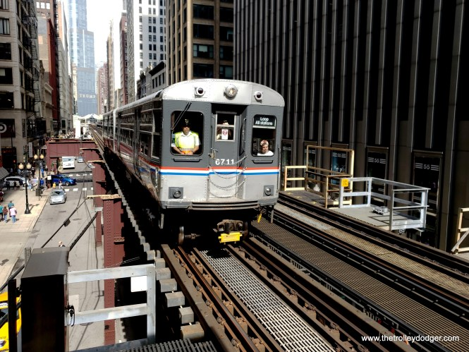 The historic train approaches Adams and Wabash.