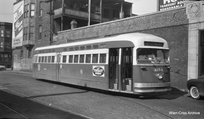 CTA PCC 4154 is at Waveland and Halsted, the north end of Route 8. (Wien-Criss Archive)