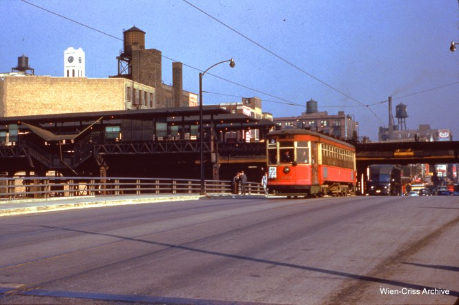 CTA 6154 is southbound at Halsted and Congress on October 5, 1953. (Wien-Criss Archive)