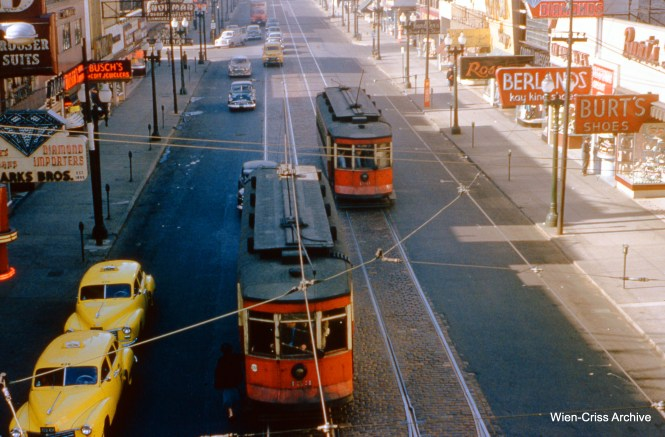 CTA 453 and 190 are on Halsted at 63rd Place on May 21, 1954. (Wien-Criss Archive)