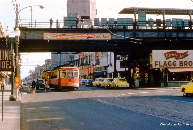 "CTA 640 is running under the ""L"" on Halsted at 63rd Place on May 25, 1954. (Wien-Criss Archive)"