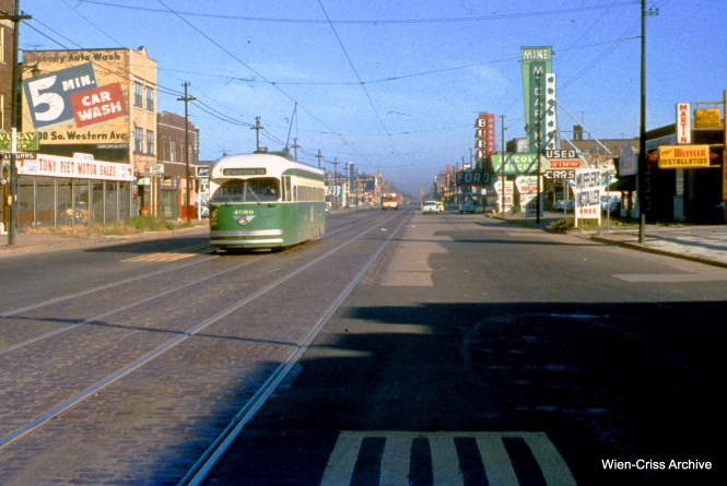 CTA 4060 is southbound on Western at 66th on October 9, 1955. (Wien-Criss Archive)