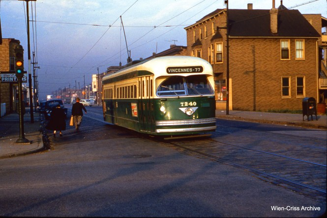 CTA 7240 is at 69th and Morgan on October 25, 1954. (Wien-Criss Archive)