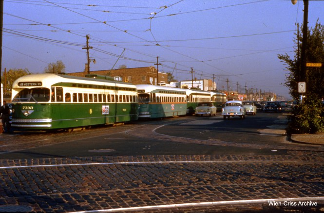 CTA 7193 has three followers at Western and 69th on October 13, 1953. You can compare the different CTA paint schemes on the first two cars. (Wien-Criss Archive)