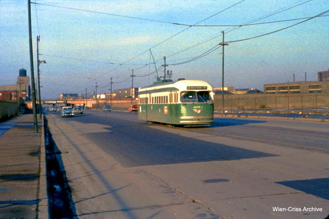 CTA 4059 on Western at 28th on November 20, 1955. (Wien-Criss Archive)