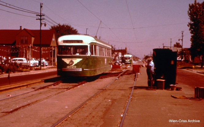 CTA 4020 on Western at 73rd during track work on June 26, 1955. (Wien-Criss Archive)